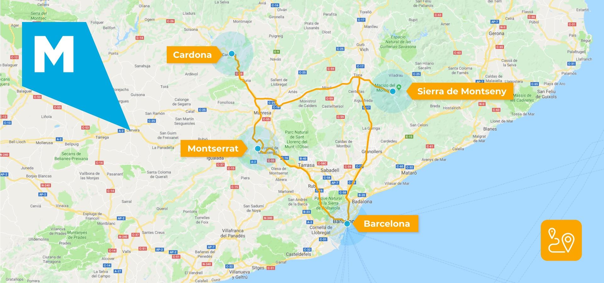 Mapa de la provincia de Barcelona, Lleida y Girona con las rutas desde Barcelona a Sierra de Montseny, a Cardona y a Montserrat