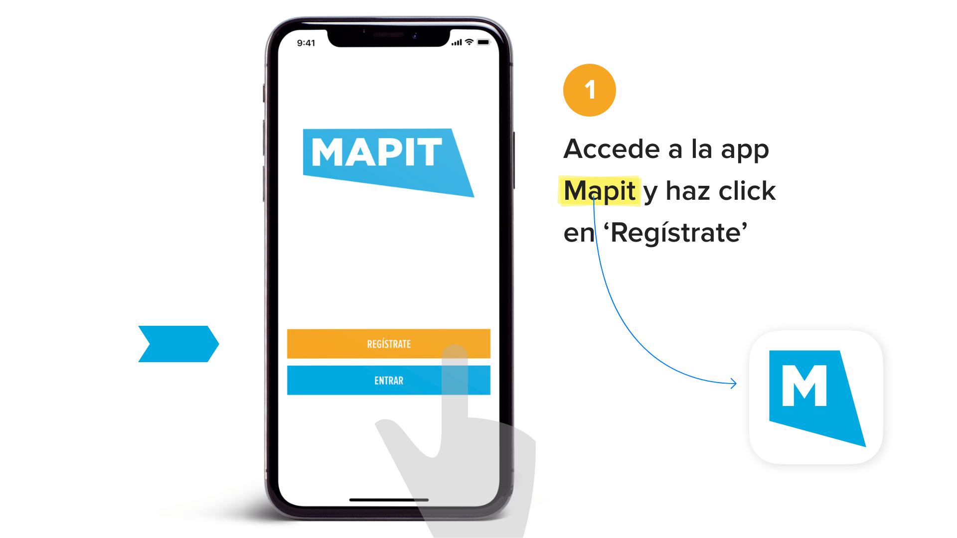Accede a la app Mapit y haz click en 'Registrate'