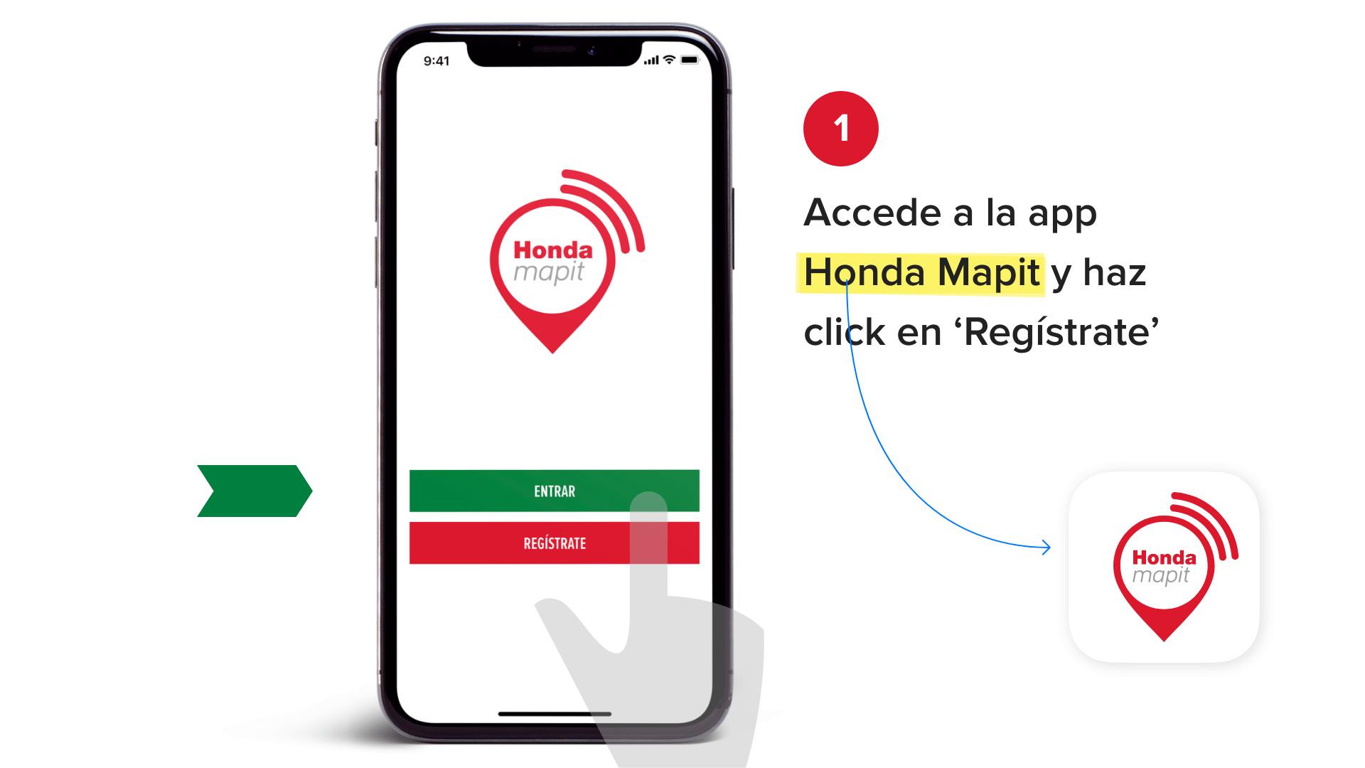 Accede a la app Honda Mapit y haz click en 'Registrate'