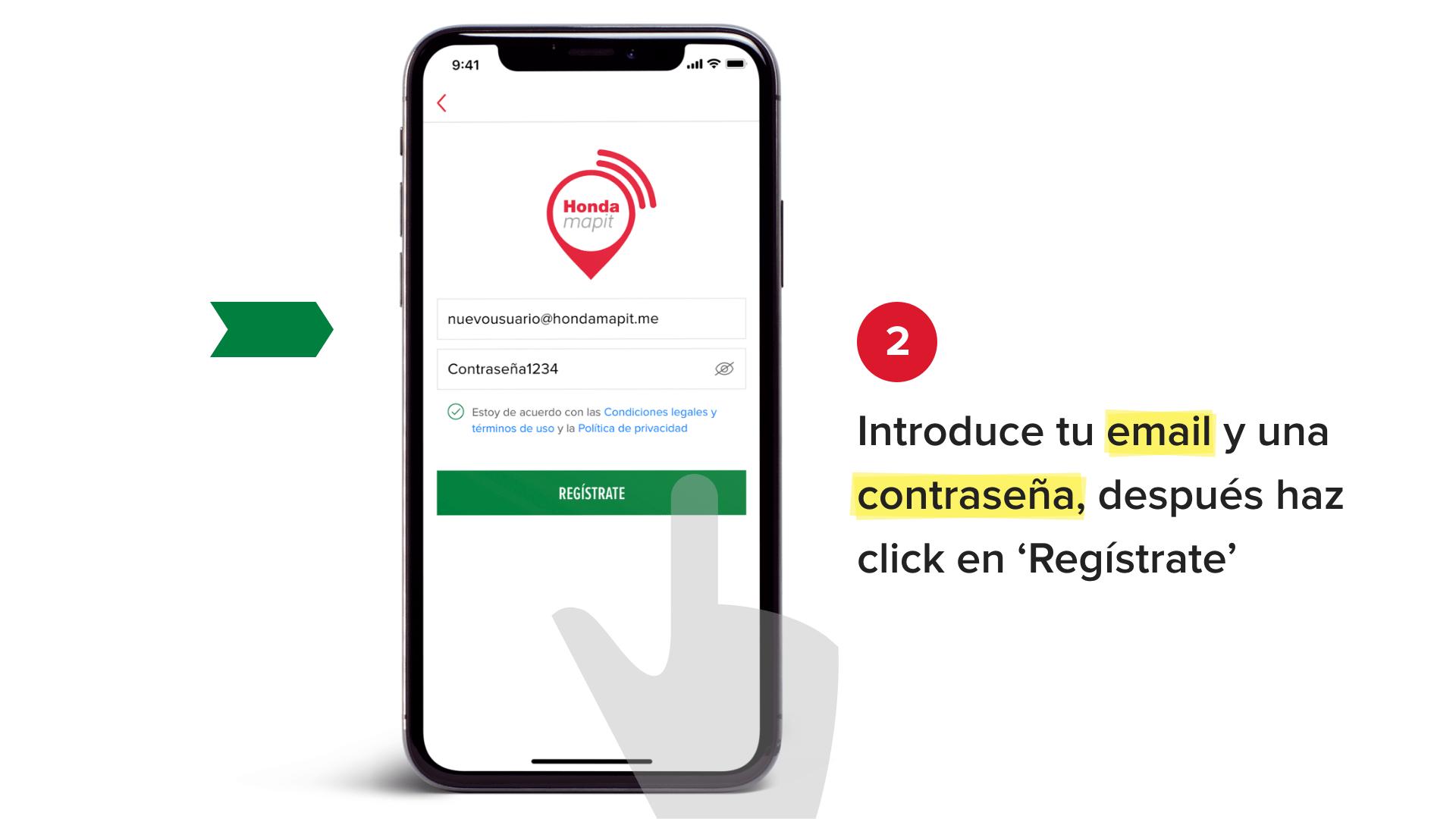 Introduce tu email y una contraseña, después has click en 'Regístrate'