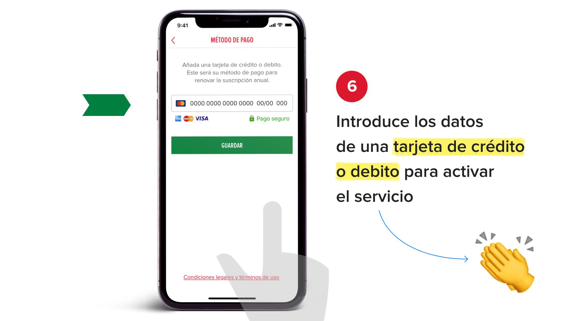 Introduce los datos de una tarjeta de crédito o debito para activar el servicio
