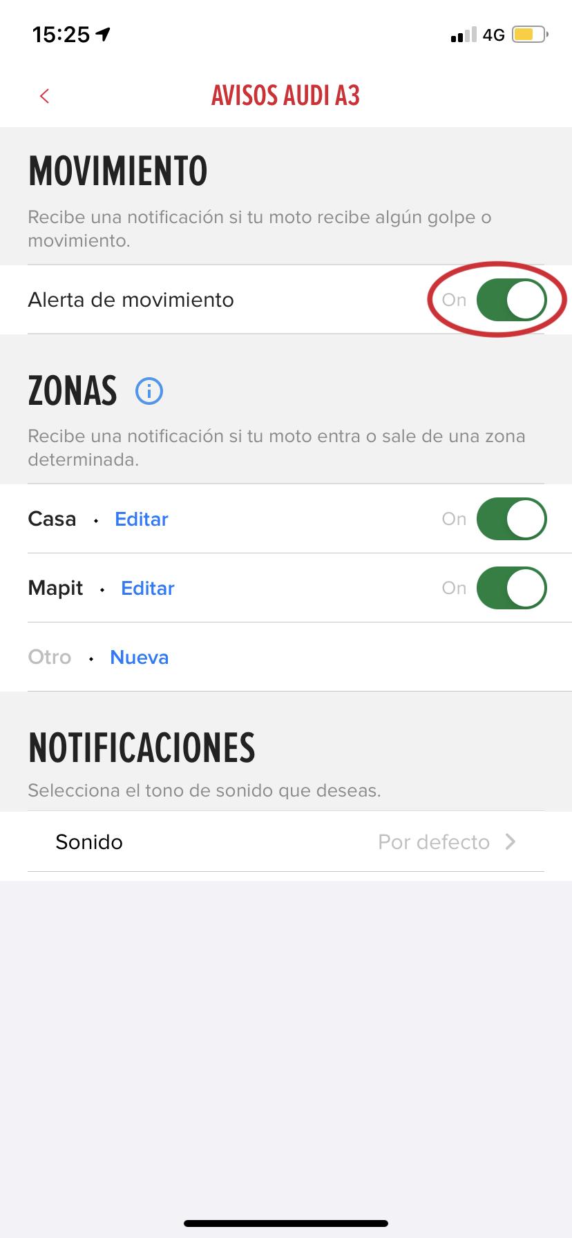 """Captura de pantalla de los ajustes de iPhone donde muestra la opción """"Alerta de movimiento"""" activada"""